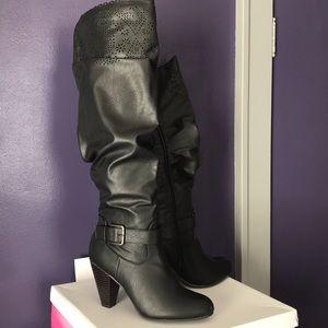 Knee high black heeled boots wide leg